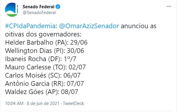 Cronograma depoimentos governadores CPI Covid