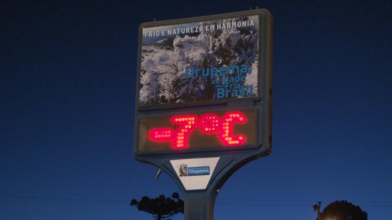 Termômetros catarinenses amanhecem marcando -7ºC, veja a previsão